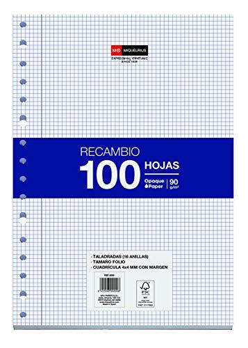 Miquelrius - Recambio 100 Hojas, Cuadrícula de 4 mm y Margen, Tamaño Folio, 16 Taladros, Papel de 90 g