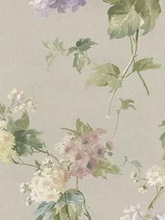 Wallpaper Designer Pastel Watercolor Floral Hydrangea Flowers Lilac Blush Green