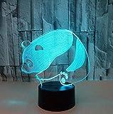 Lámpara Panda 3D 7 Colorido Visual Estéreo Panda Luces Táctiles Regalo Luz Nocturna 3D Usb Led Novedad Accesorios De Iluminación 3D