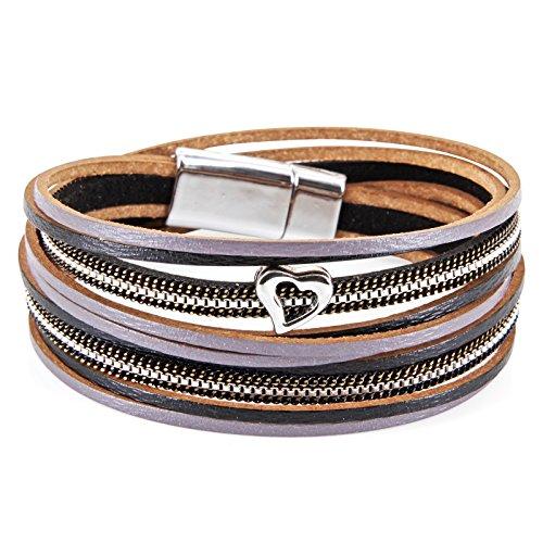 StarAppeal Armband Wickelarmband in Leder mit Herz, Kette und Magnetverschluss Silber, Damen Armband (Schwarz-Grau)