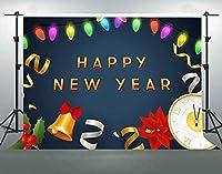 写真撮影のためのHD新年あけましておめでとうございます背景7X5ftソフトコットンカラフルなランタンリボン背景2020新年パーティーの装飾用品バナー写真撮影小道具DSFS710