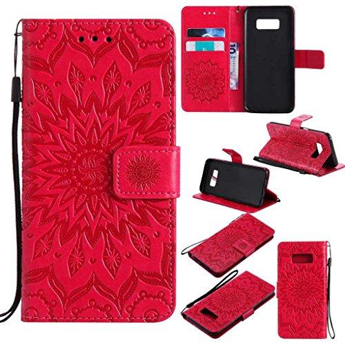 BoxTii Coque Galaxy S8, Etui en Cuir de Première Qualité, Housse Coque pour Samsung Galaxy S8 (#5 Rouge)