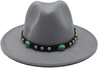 2019 Mens Womens Hats Womens Fashion Wool Polyester Fedora Hat for Women with Punk Belt Pop Trilby Hat Wide Brim Chuch Hat Outdoor Autumn Wild Hat Adjused Size (Color : Light Gray, Size : 56-58)