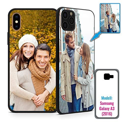 PixiPrints Foto-Handyhülle mit eigenem Bild kompatibel mit Samsung Galaxy A3 (2016), Hülle: TPU-Silikon in Schwarz-Matt, personalisiertes Premium-Case selbst gestalten mit flexiblem Druck