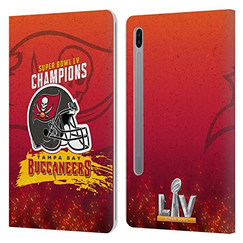 Official NFL Tampa Bay Buccaneers Chiefs Helmet 2021 Super Bowl LV Champions Leather Book Wallet Case Cover Compatible For Samsung Galaxy Tab S6 (2019)
