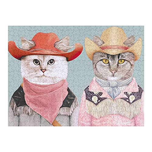 Houten puzzel 500 PCS voor volwassenen en kinderen,Grappige schattige cowboy katten moeilijke uitdaging intellectuele educatieve spel geschenk