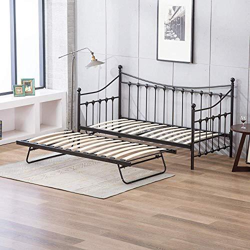 KOSY KOALA Cama de día blanca de 91 cm con marco de metal para debajo de la cama (negro, sofá cama con trundle)