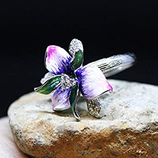 Pink Purple Orchid Flower Enameled Ring Sterling Silver with Cubic Zirconias, 14th Anniversary, Strength