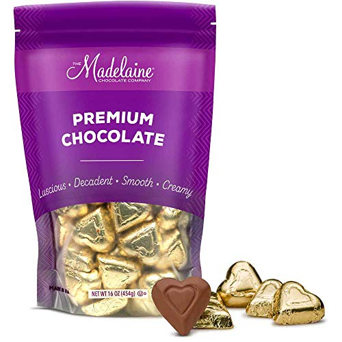 Madelaine Premium Chocolate Heart Shaped Candy - Solid Milk Chocolate Wrapped In Italian Foil (Gold, 1 LB)
