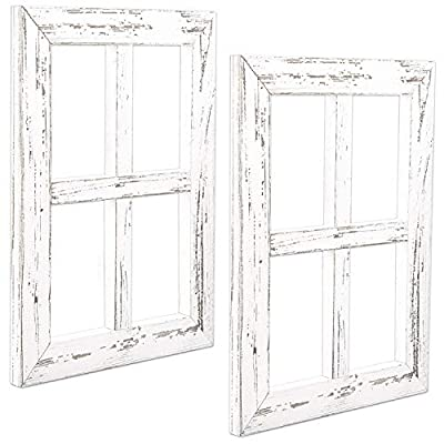 Window Frame Wall Decor 2 Pack - Rustic White Wood Window Pane Country Farmhouse Decorations