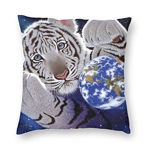 Traveler Shop Fundas de Almohada Earth Tigers Throw Cojines para Cama, sofá, Silla, Coche, hogar, Decorativo, 18x18in