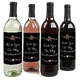 Best Day Ever–Will You Be My Bridesmaid Wein Flasche Label Aufkleber–Set von 4