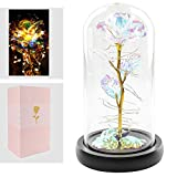 Lmeison Artificial Flower Crystal Rose, Lasts Forever in a Glass Dome with LED...