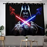 MRFSY Cortinas opacas para ventana de Star Wars Darth Vader para ojales de cocina, aislamiento térmico, cortinas oscurecedoras para sala de estar 106 x 182 cm