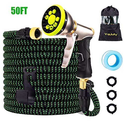 YOJULY Garden Hose-50ft Expandable Hose, Leakproof Lightweight Garden Water Hose-No Kink Tangle-Free Pocket Water Hose, High Pressure Water Spray Nozzle