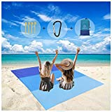 Portable Waterproof Beach Blanket Extra Large-77.95''×80.31''Quick-Drying Picnic Blanket for 4-7 Adults,Outdoor Picnic Blanket with 4pcs Ground Stakes and 1pcs Carabiner for Camping,Hiking(Blue)