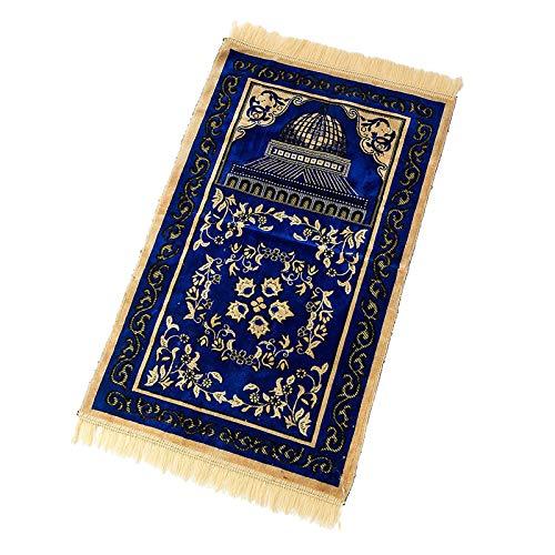 Fenteer Gruesa suave cómoda tela de poliéster musulmán alfombra de oración gruesa chenilla patrones de bordado alfombra antideslizante de viaje alfombra de - Azul