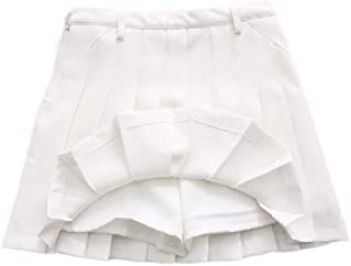 neveraway Womens Lining A-line Skorts Preppy Chic High-Waisted Mini Skirt