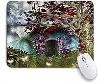 ZOMOY マウスパッド 個性的 おしゃれ 柔軟 かわいい ゴム製裏面 ゲーミングマウスパッド PC ノートパソコン オフィス用 デスクマット 滑り止め 耐久性が良い おもしろいパターン (ファンタジー神秘的なツリーアニメ神秘的な蝶満月の妖精の庭の木製ドアゴシックハロウィーン)
