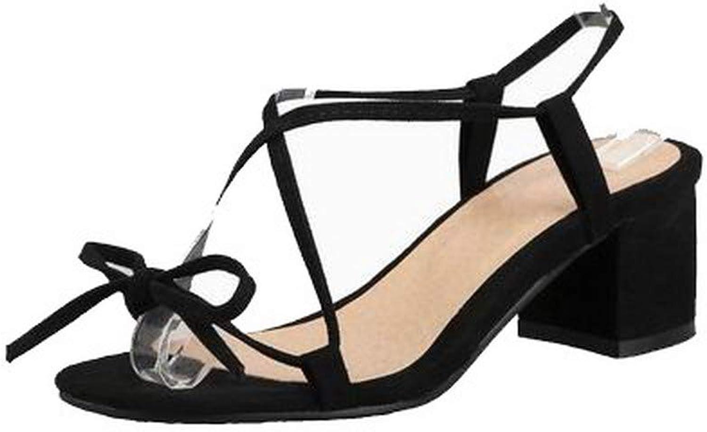 AmoonyFashion Women's Kitten-Heels Imitated Suede Lace-Up Open-Toe Sandals, BUTLS007800