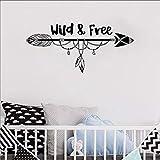Wild and free arrow tatuajes de pared vivero tribal pluma bosque pegatinas de pared murales para niños niños niños habitación infantil arte bohemio pegatinas de decoración de pared A9 88x40 cm