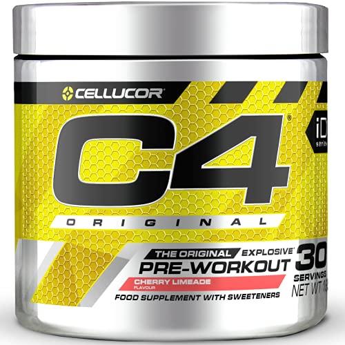 C4 Original - Suplemento en polvo para preentrenamiento - Lima y cereza | Bebida energética para antes de entrenar | 150mg de cafeína + beta alanina + monohidrato de creatina | 30 raciones