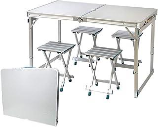 IBEQUEM - Juego de mesa y sillas de picnic plegable, altura ajustable, mesa y sillas de aleación de aluminio portátil con 4 asientos para interior y exterior, camping, fiesta, barbacoa, jardín