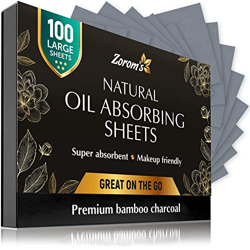 Natural Bamboo Charcoal Blotting Paper - 100 Super Large & Absorbent Sheets (120x75mm) - Make Up Friendly - Easy Take Out Design - Oily Skin Care (100 sheets/pack, 1 Pack)