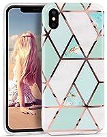 Imikoko iPhone XS ケース iPhone X ケース 大理石柄 ワイヤレス充電器対応 ストラップホール付き おしゃれ かわいい マーブル TPU ソフト 耐衝撃 軽量 シリコン 保護カバー (アイフォンX/Xs 青&白)