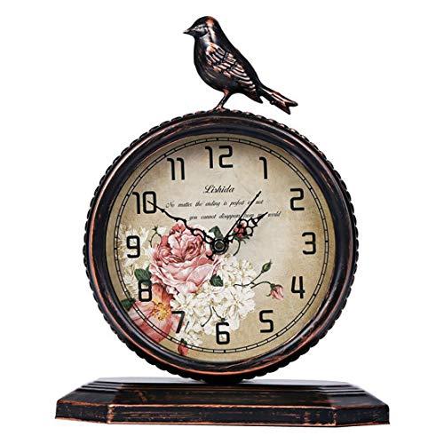 Relojes De Mesa Retro, Reloj De Alarma Clásico Antiguo, Reloj De Hierro Labrado Silencioso Reloj De Cabecera con Batería para Dormitorio Sala De Estar Decoración De La Cocina,C