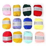 Hilo de Tejer Duradero, artesanías de Hilo de Ganchillo de Lana para proyectos de Hilo para Principiantes de Tejido Manual(A Set of 12 Colors)