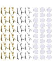 24 st örhängen konverterare clip-on och 30 st silikonörhängen dynor, med enkel öppen ögla, SENHAI 12 par silver & guldpläterad gör-det-själv örhänge smyckestillverkning fynd - guld och silverfärg