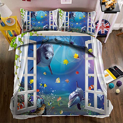 Tanboank Bettbezug 240x220cm mit 2 Kissenbezug 3D Bettwäsche Set Delphin Fensterbank Drucken Mikrofaser Polyester mit Reißverschluss Pflegeleicht Atmungsaktiv Warm Weiche Anti-Fading