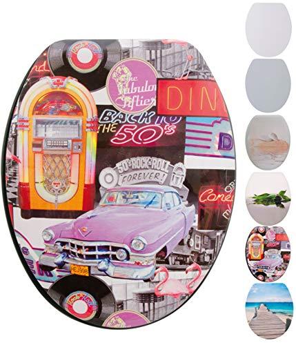 Spirella WC Deckel MDF mit Absenkautomatik Rock'n Roll mit High Gloss Finish und Schnellbefstigung Scharniere aus Edelstahl