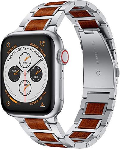 Supore Compatible per Apple Watch Cinturino 42mm 44mm, Legno di Sandalo Rosso Cinghia di Metallo in Acciaio Inossidabile in Metallo per iWatch Serie 5 4 3 2 1 (Legno Sandalo Rosso + Acciaio Argento)