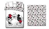 LesAccessoires Mickey & Minnie - Juego de cama (funda nórdica de 200 x 200 cm + 2 fundas de almohada + sábana bajera de 140 x 200 cm, 100% algodón)