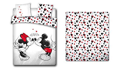 LesAccessoires Mickey & Minnie - Juego de cama (funda nórdica de 240 x 220 cm + 2 fundas de almohada + sábana bajera ajustable de 160 x 200 cm, 100% algodón)
