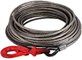 BestEquip Galvanized Steel Winch Cable, 3/8' x 75' - Wire Rope with Hook, 8800 Lbs Breaking Strength - Towing Cable Heavy Duty, 6x19 Strand Core - for Rollback, Crane, Wrecker, Tow Truck