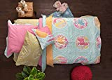 Pink Guppy, 100% Cotton Quilt/Coverlet with Eurosham, Twin Bed Size in Blue, Moss Green, Hot Pink & Ochre with Paisley Print & Indian Motifs (2 Piece Bedding Set)