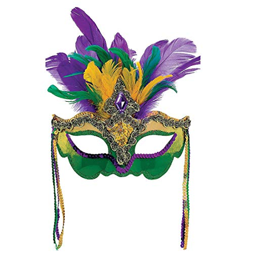 Mardi Gras Sequin Feathers Mask Masquerade Womens Mask Venetian Carnival Mask (Style C)
