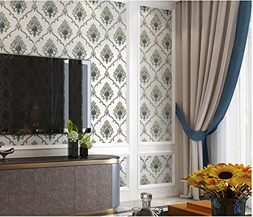 Papel Pintado Minimalista Moderno No Tejido 0,53 x 9,5m Damasco europeo Papel Pintado Decoración de Pared para Dormitorio TV Telón de Fondo, Azul marino
