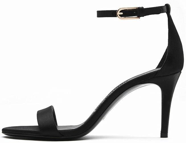 DIDIDD Chaussures à Talons Hauts Femmes D'été Boucle Chaussures à Talons avec des Sandales,E,36,5
