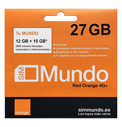 Orange - Tarjeta SIM Prepago (Tu Mundo) 27 GB en España   800 Minutos Nacionales e internacionales   8,5 GB Roaming en Europa   Activación Online   Velocidad 4G