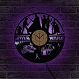 Wall Clock, Wall Clock Star Wars Record Hollow Out Design 7 Color Changing LED Wall IllusionVeilleuse Best Gift with Remote for