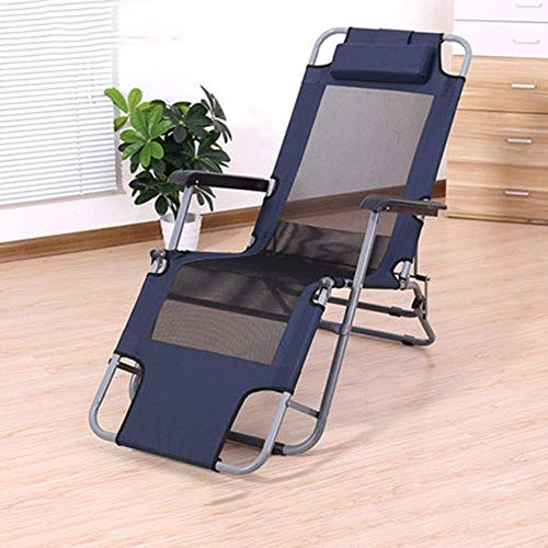 FTFTO Chaise Longue de Bureau Life Transats Zero Gravity, Chaise Longue de Patio Pliante, Chaise portative de Jardin de Plage en Plein air avec Oreiller Cervical (Couleur: Bleu, Taille: 155 cm)