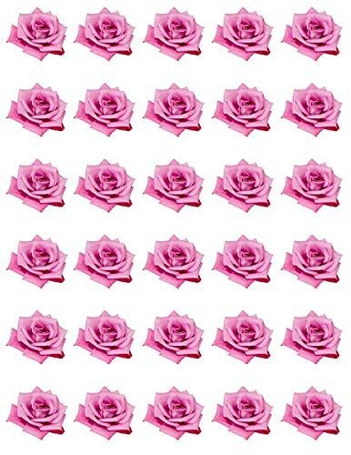 30 obleas de papel comestible para magdalenas, diseño de rosas rosas rosas