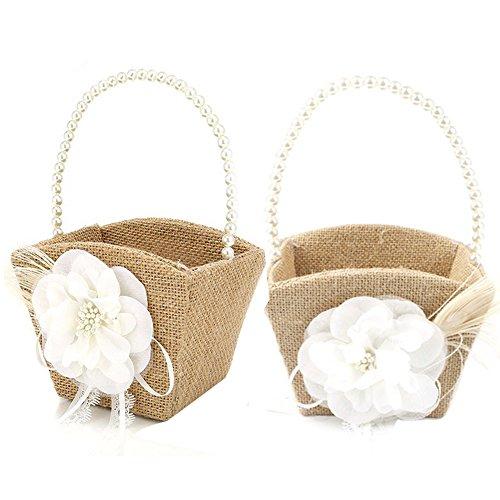 Awtlife 2PCS Burlap Flower Girl Basket Pearl Handle For Vintage Rustic Wedding CeremonySmall