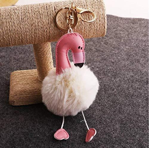 Schattige Zachte Pluizige Pompom Sleutelhanger Knuffel Pop, Sleutelhanger Hanger Bedels Knuffels Voor Kinderen Cadeau 14Cm (Beige)