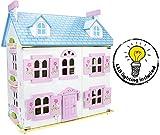 Belle Alpine Maison De Poupée En Bois Avec Des Meubles Et De La Famille De Poupées  Couleur Rose  Petite Maison Haute Qualité