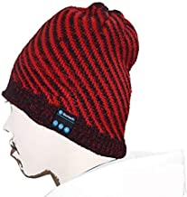 BGJOY Wireless Smart Beanie Headset Music Knit Headphone Speaker Hat Speakerphone Mens Gifts Womens Gifts Winter Knitting Beanie Cap Built-in Microphone for Hand-Free Calling (Red with Black)